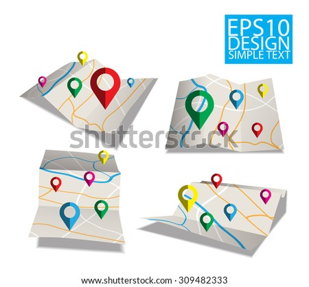 map  Flat style design and checkpoint icons - stock vector