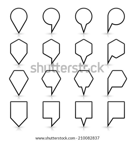 16 map pins sign location icon with gray shadow and reflection in flat style. Set 02 simple black shapes on white background. This vector illustration web design element save in 8 eps - stock vector