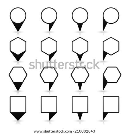 16 map pins sign location icon with gray shadow and reflection in flat style. Set 03 simple black shapes on white background. This vector illustration web design element save in 8 eps - stock vector