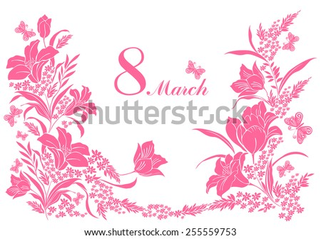 8 March. Greeting card. Celebration background with flowers, butterfly and place for your text. Vector Illustration  - stock vector