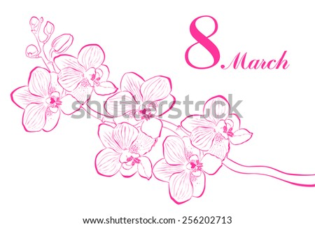 8 March. Greeting card. Celebration background with orchid flower and place for your text. Vector Illustration  - stock vector