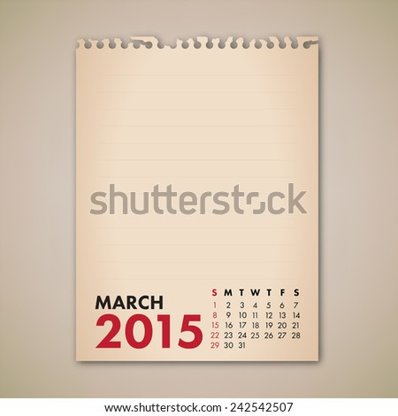 2015 March Old Note Paper Calendar Vector  - stock vector