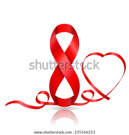 8 March symbol of red ribbon and ribbon in heart shaped. Vector illustrations - stock vector
