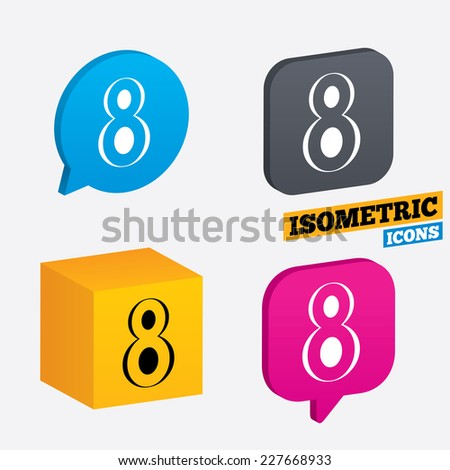 8 March Women's Day sign icon. Eight symbol. Isometric speech bubbles and cube. Rotated icons with edges. Vector - stock vector