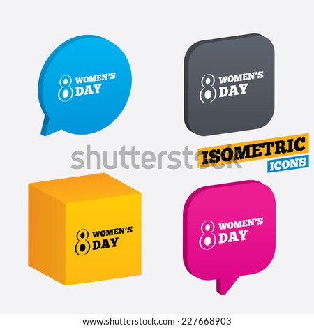 8 March Women's Day sign icon. Holiday symbol. Isometric speech bubbles and cube. Rotated icons with edges. Vector - stock vector