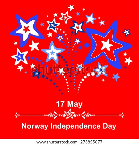 17 May. Norway Independence Day. Celebration red background with firework and place for your text. vector illustration  - stock vector
