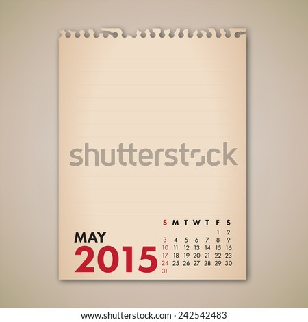 2015 May Old Note Paper Calendar Vector  - stock vector