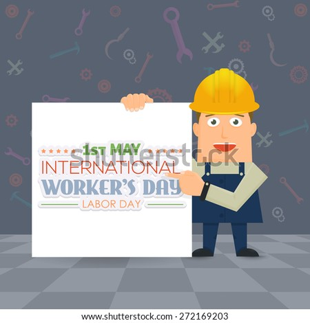 1 May Worker's Day Poster, Flyer. Presentation Construction Worker Vector Illustration - stock vector