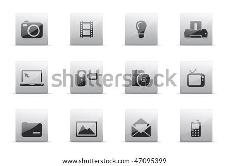 Media icon set - stock vector
