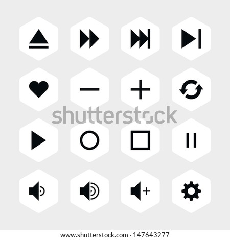 16 media player control button ui icon set 06. Black pictogram on white hexagon button. Solid plain monochrome flat tile. Simple contemporary modern style. Web design element vector illustration 8 eps - stock vector
