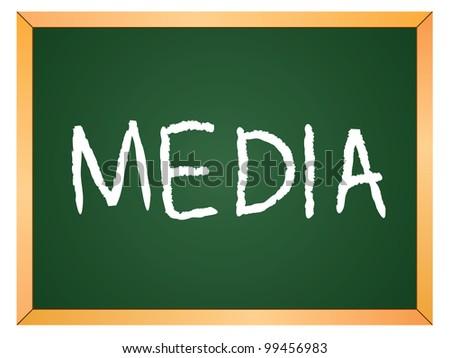 """media"" word written on chalkboard - stock vector"