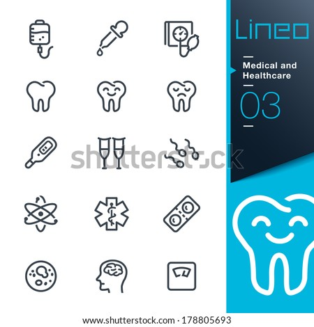 Medical and Healthcare outline icons - stock vector