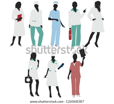 Medical doctor girls silhouettes.Vector - stock vector