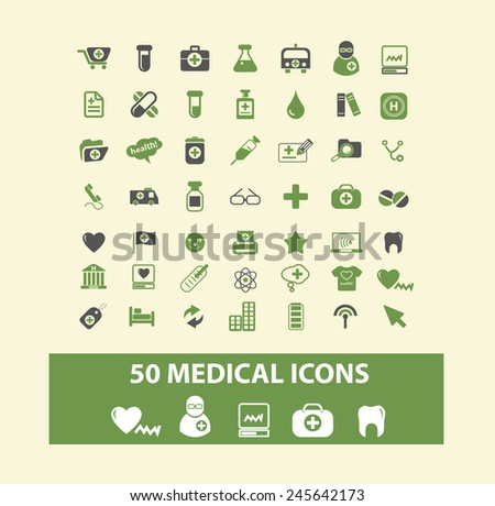 50 medical, health, doctor web icons, signs, illustration isolated on background set, vector - stock vector