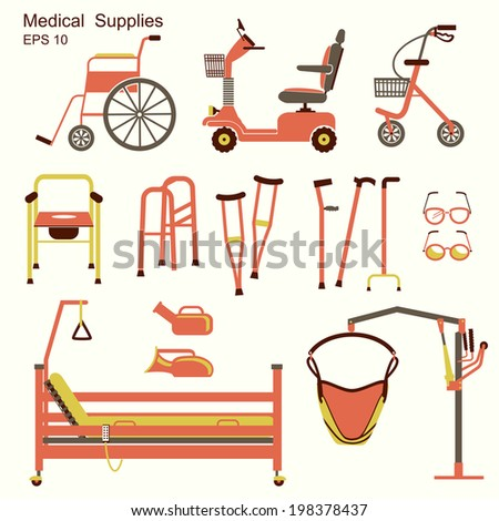 medical hospital equipment for disabled people.Vector flat symbols isolated - stock vector