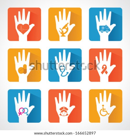 Medical icons and design with helping hand stock vector - stock vector