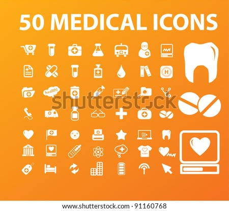 50 medical icons set, vector illustration - stock vector