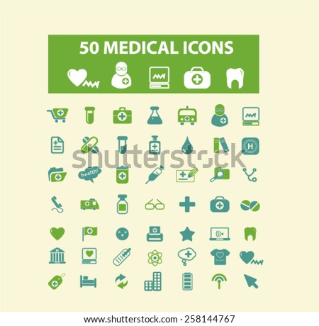 50 medical, medicine, health, care, hospital isolated icons, signs, illustrations design concept set for web, internet, application, vector - stock vector