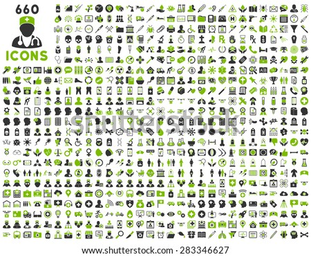 690 medical service, health care, pharmacy business, drugstore, science icons. Icon set style: bicolor flat, eco green and gray vector symbols, rounded angles, white background. - stock vector