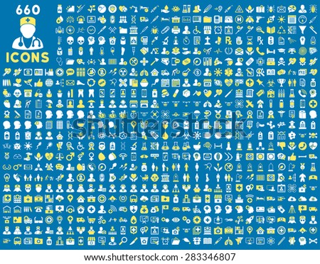 690 medical service, health care, pharmacy business, drugstore, science icons. Icon set style: bicolor flat, yellow and white vector symbols, rounded angles, blue background. - stock vector