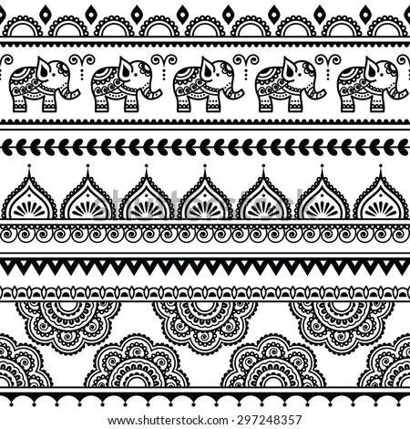 Mehndi, Indian Henna tattoo seamless pattern with elephants - stock vector