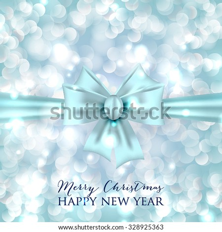 Merry Christmas and Happy New Year Card Xmas Card. Blur Silver Snowflakes. Vector.  - stock vector