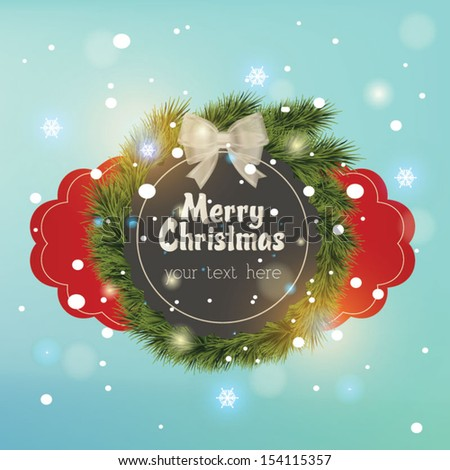 """""""Merry Christmas"""", Creative label. Vector Illustration. Sparkle background - stock vector"""