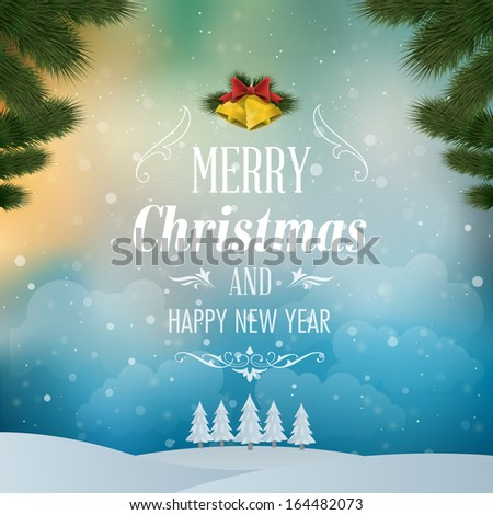 Merry Christmas Landscape. Vector illustration - stock vector