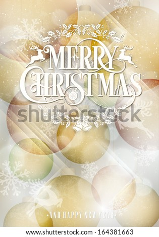 Merry Christmas Shiny Background With Typography - stock vector
