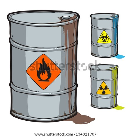 metal barrel with flammable oil and barrels with radioactive, biohazard waste - stock vector