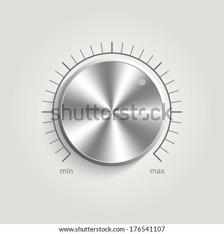 Metal vector volume music control with a scale from low to high, volume knob, for websites  - stock vector