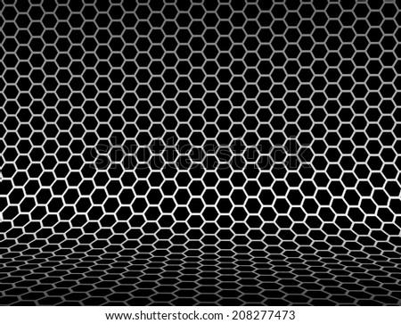 Metallic abstract backdrop with hexagon grid texture - stock vector
