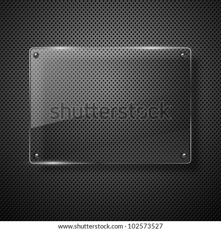 Metallic background with glass framework. Vector illustration. - stock vector