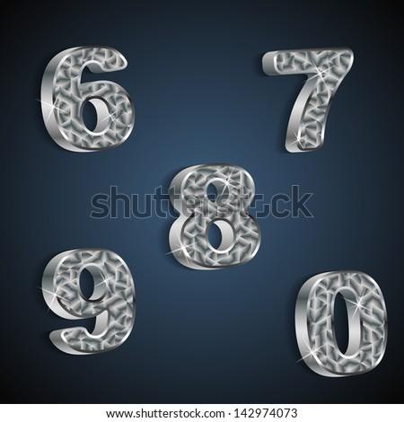 metallic numbers 6 to 0 set - stock vector