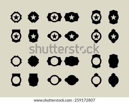 24 Military Buttons and Badges. - stock vector