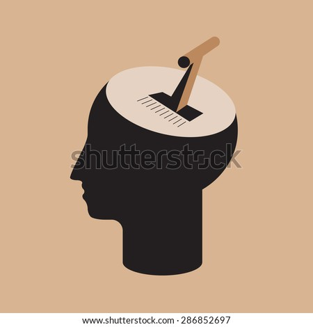 mind control - accelerate brain power using gear stick  - stock vector