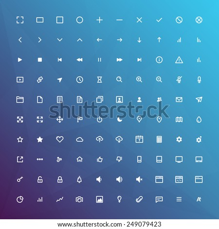 100 Minimal line icons set for web and mobile elements / eps10 vector illustration / - stock vector