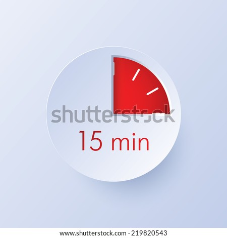 15 minutes timer icon - stock vector