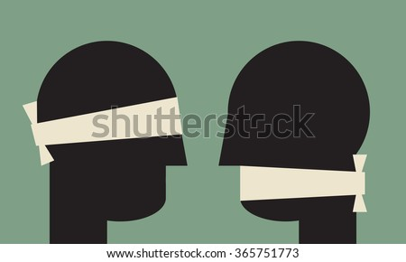 misunderstanding   due to communication problems - stock vector