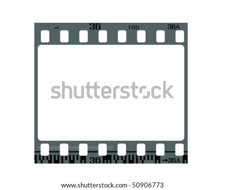 35mm negative frame, with details and accurate dimension. - stock vector