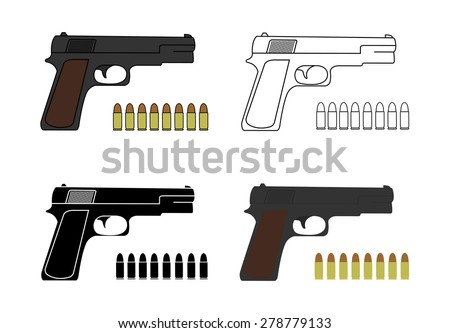 9mm pistols set with bullets. Game resources. Color, contour, black. Vector clip art illustrations isolated on white  - stock vector