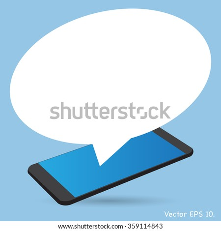 mobile phone with Speech Bubbles Design, Vector Illustration EPS 10. - stock vector