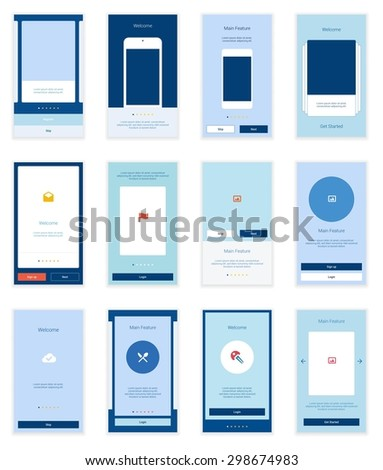 12 Mobile Screens User Interface Kit. Modern user interface UX, UI screen template for mobile smart phone or responsive web site. Welcome, onboarding, login, sign-up and home page layout. - stock vector
