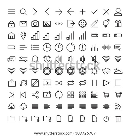100 Mobile User Interface Icons - stock vector