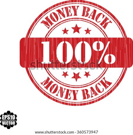 100% money back grunge rubber stamp, vector illustration - stock vector