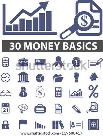 30 money, finance icons set, vector - stock vector