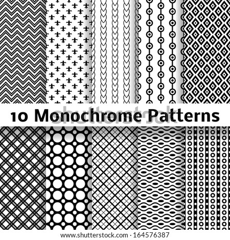 10 Monochrome different vector seamless patterns (tiling). Endless texture can be used for wallpaper, pattern fills, web page background, surface textures. Set of black and white geometric ornaments. - stock vector