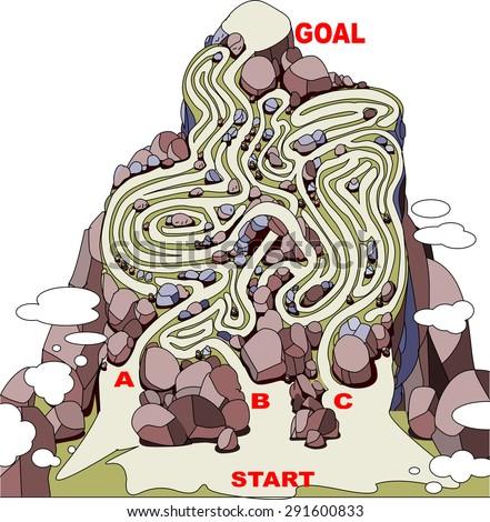 mountain path of maze - stock vector