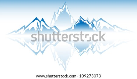Mountain Water reflection vector. - stock vector