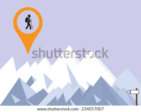mountains background and hiker  - stock vector